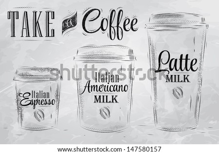 Set of Coffee drinking cup sizes in vintage style stylized drawing with coal on blackboard.  - stock vector