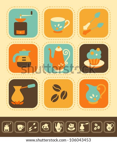 Set of coffee icons, color and monochrome version - stock vector