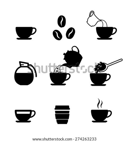 Set of coffee icons on white background. Vector illustration - stock vector