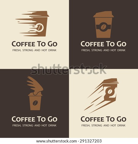 Set of coffee to go labels. Moving coffee cup logos. - stock vector