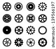 Set of cogwheels (gear wheels) isolated on white background. Vector illustration. - stock vector