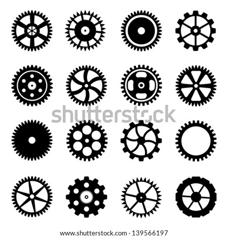 Set of cogwheels (gear wheels) isolated on white background. Vector illustration. - stock vector