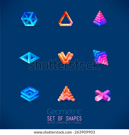 Set of color abstract geometric figures collected from a triangle. Nine forms for registration of your ideas, logos, business concepts. - stock vector