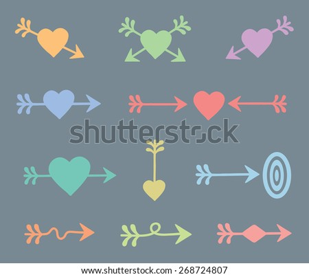 set of  color arrows and hearts. vector. isolated on gray - stock vector