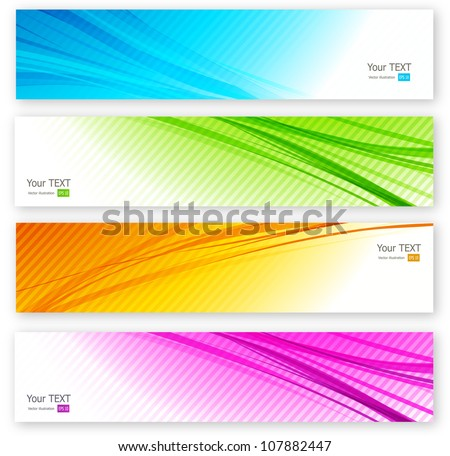 Set of color banner - stock vector
