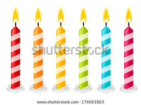 Set of color Birthday candles - stock vector