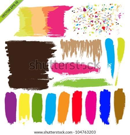 Set of color brush vector - stock vector
