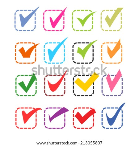 set of color different ticks - stock vector