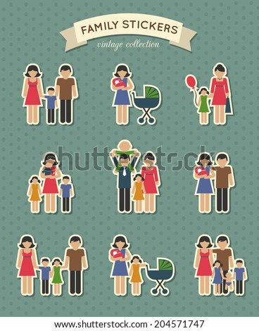 Set of color family  parent kids icons stickers for scrapbook  vector illustration - stock vector