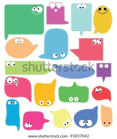 Set of color funny labels over white, vector - stock vector
