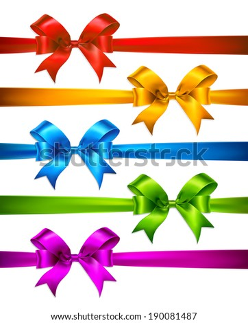 Set of color gift bows with ribbons. Vector illustration - stock vector