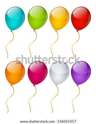 Set of color glossy balloons - stock vector