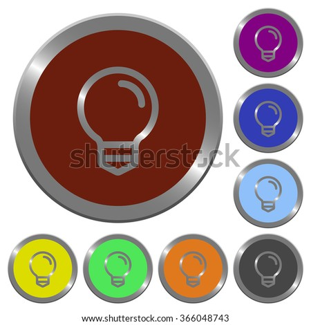 Set of color glossy coin-like light bulb buttons. - stock vector
