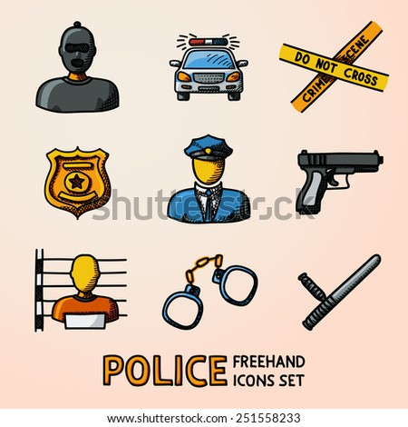 Set of color hand drawn police icons - gun, car, crime scene tape, badge, police men, thief, thief in jail, handcuffs, police club. Vector - stock vector