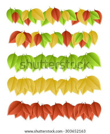 Set of color leaves isolated on white background. Vector illustration - stock vector