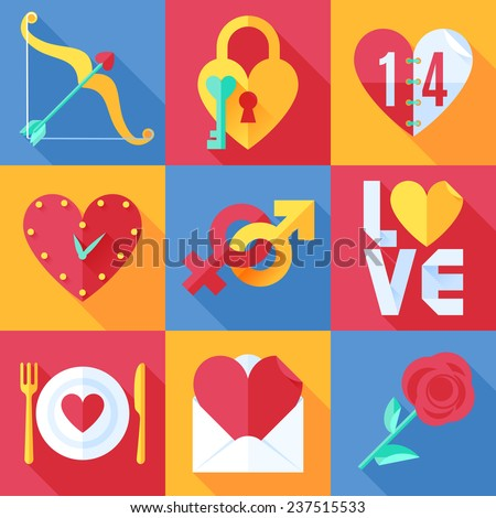 Set of color love theme flat icons - stock vector