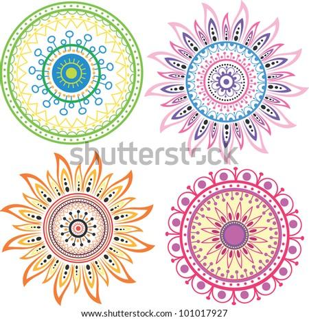 Set of color mandala - stock vector