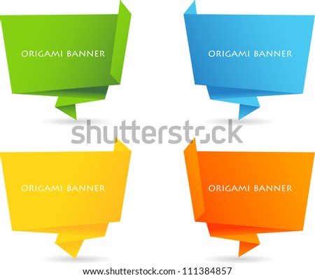 Set of color origami banner - stock vector