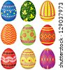 Set of color painted Easter eggs. Vector illustration. No transparency. - stock vector
