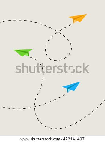 Set of color paper airplanes in route - stock vector