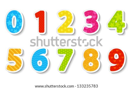 Set of color paper numbers - stock vector