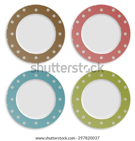 Set of color plates with polka dot pattern isolated on white. Vector EPS10 illustration.  - stock vector