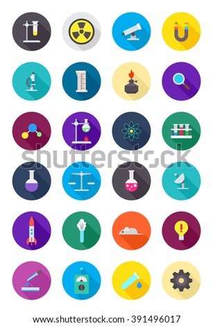 Set of 24 color round science icons - stock vector
