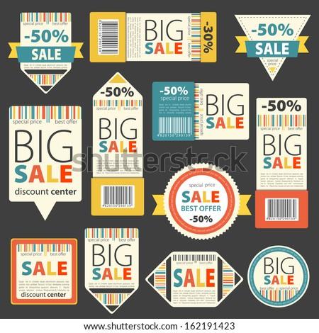 Set of Color sale vintage signs/labels  - stock vector