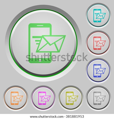 Set of color Sending email sunk push buttons. - stock vector