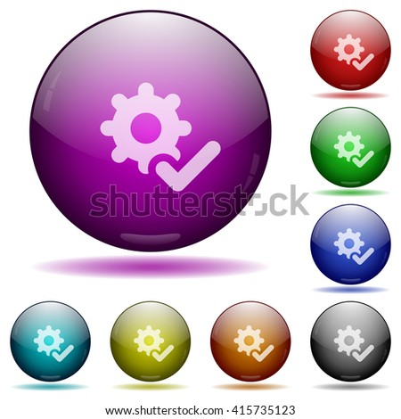 Set of color Settings ok glass sphere buttons with shadows. - stock vector