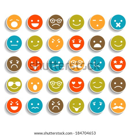 Set of color smiley icons  - stock vector