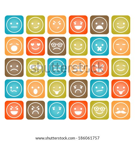 Set of color smiley icons isolated - stock vector