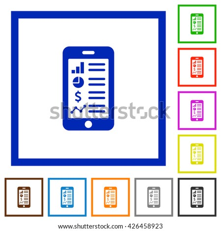 Set of color square framed mobile application flat icons - stock vector