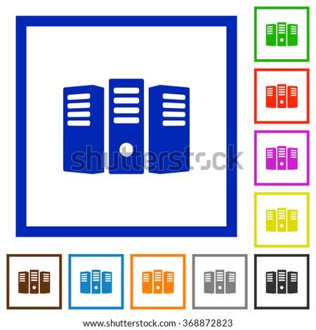 Set of color square framed Server hosting flat icons on white background - stock vector