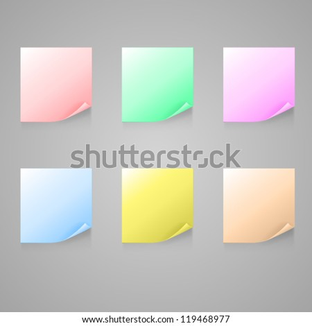 Set of color stick note. EPS10 vector. - stock vector