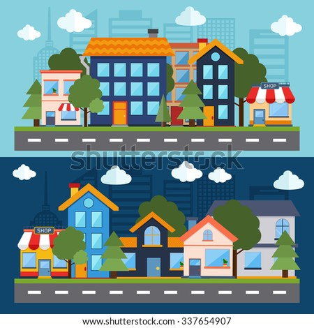 Set of color urban landscape and city life banners. Flat design modern vector illustration icons set of factory landscape and city life. Building icon - stock vector