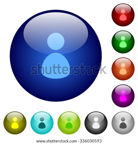 Set of color user glass web buttons. Arranged layer structure. - stock vector