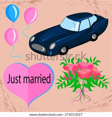 Set of color vector illustration on a wedding theme with a car and a bouquet. Vector illustration - stock vector