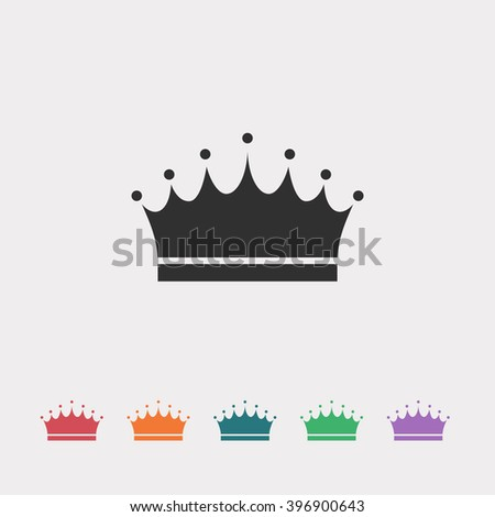 Set of color web icons: black crown icon, red crown icon, orange crown icon, blue crown icon, green crown icon, purple crown icon - stock vector