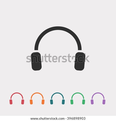Set of color web icons: black headphones icon, red headphones icon, orange headphones icon, blue headphones icon, green headphones icon, purple headphones icon - stock vector