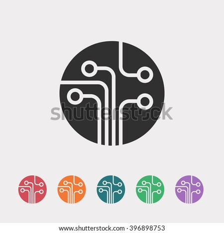 Set of color web icons: black technology icon - stock vector
