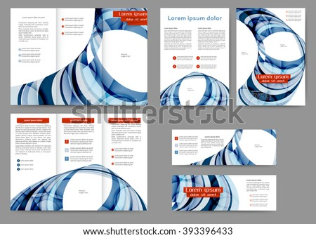 Set of colored abstract brochure template with abstract lines and waves - stock vector