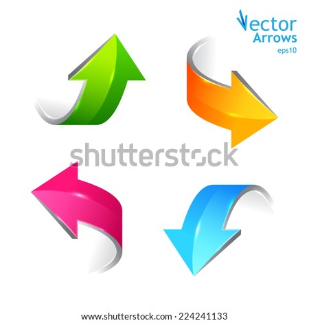 Set of colored arrows. Stickers pointers. Vector illustration - stock vector