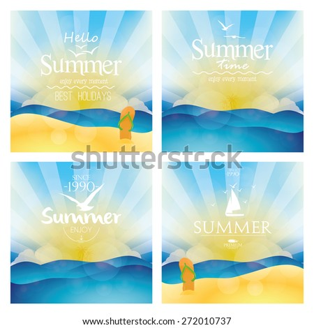 Set of colored backgrounds of summer landscapes with text. Vector illustration - stock vector