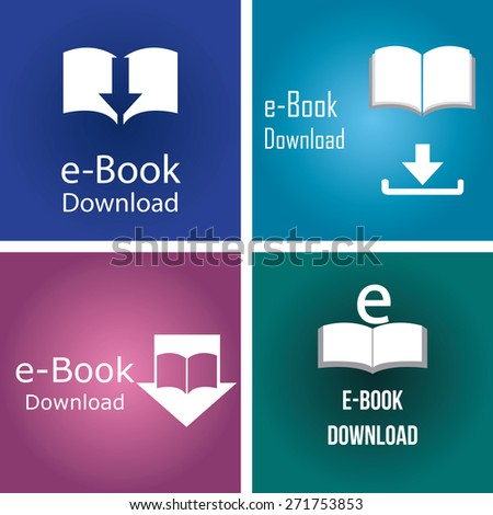 Set of colored backgrounds with e-book icons. Vector illustration - stock vector