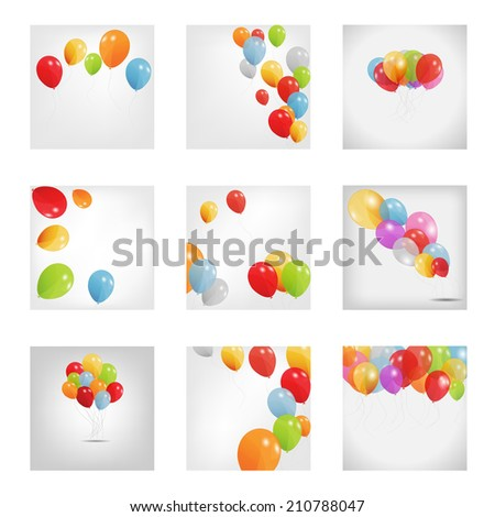 set of colored balloons, vector illustration. EPS10 - stock vector