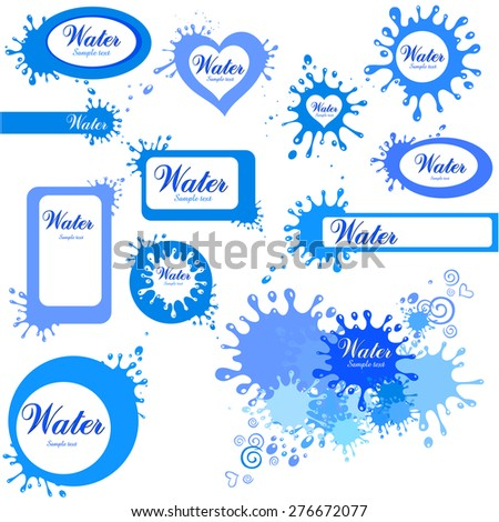 Set of colored blots isolated on White background. Water Icon Set. Vector Illustration - stock vector