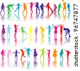 Set of colored children silhouettes playing - stock vector