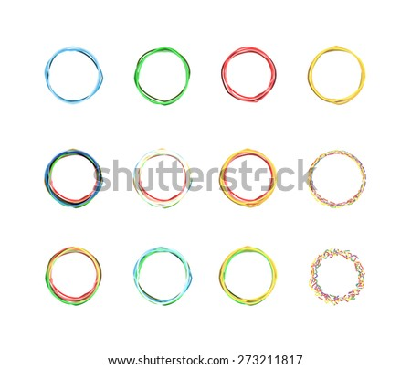 set of colored circles in isolation. vector illustration - stock vector