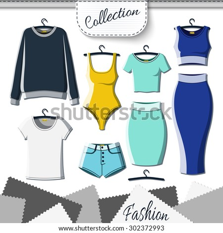 Set of colored clothes to create design on white background. Sweatshirt and T-shirt. T-shirt and shorts. Swimsuit. Suit with skirt. Template clothing. Vector mock up - stock vector